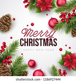 Merry Christmas and happy new year  background.  Vector illustration with Christmas elements.