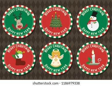 Merry Christmas and Happy new year vector badge collection. Merry Christmas vector logo with Christmas symbol collection set.