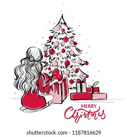 merry christmas and happy new year vector card xmas illustration with girl gift boxes