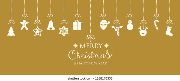 Merry Christmas and Happy New Year - banner with ornaments. Vector.