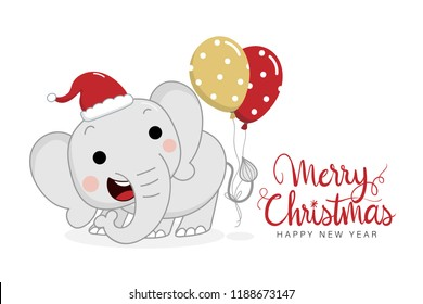 Merry Christmas and happy new year greeting card with cute elephant and balloons. Animal wildlife holidays cartoon character vector.