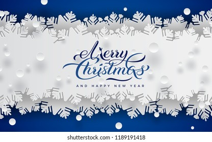 Merry christmas and happy new year banner, blue background, white lace ribbon decoration with snowflake, snow. Holiday design for greeting card, banner, flyer. Paper cut out style, vector illustration