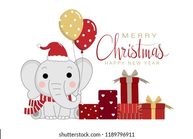 Merry Christmas and happy new year with cute elephant and gifts. Wildlife animal cartoon character in winter holidays vector.