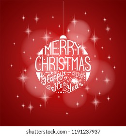 Merry Christmas and Happy New Year lettering template. Greeting card or invitation design.