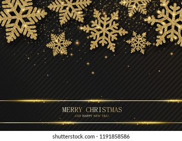 Merry Christmas and Happy New Year card with beautiful golden snowflakes. Vector background.