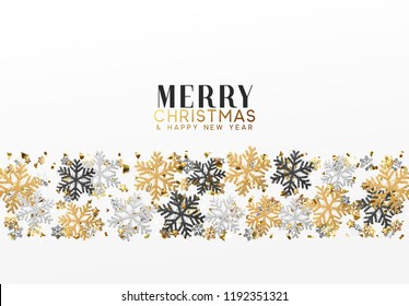 Merry Christmas and Happy New Year. Xmas background with Shining gold Snowflakes. Greeting card, holiday banner, web poster