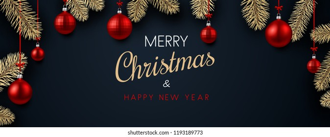 Merry Christmas and Happy New Year banner with red Christmas balls. Vector background.