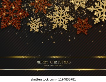 Merry Christmas and Happy New Year card with beautiful shiny snowflakes. Vector background.