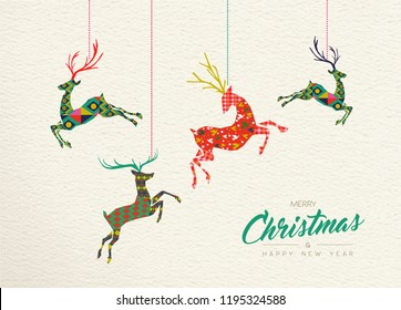Merry Christmas and Happy New Year folk art greeting card illustration. Scandinavian boho style deer with traditional geometric shapes in festive colors. EPS10 vector.