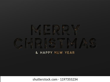 Merry Christmas and Happy New Year. Text black Effect of the cut paper with the embossed. Vector dark background creative design greeting card, banner, poster.