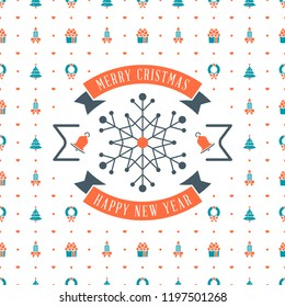 Merry Christmas and Happy New Year. Retro design on seamless background. Vector background for wrapping paper or greeting card