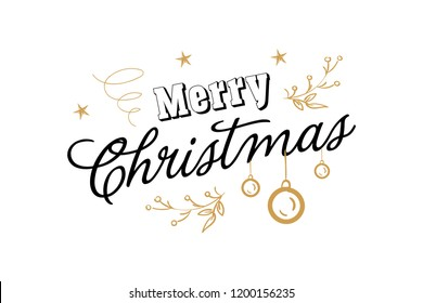 Merry christmas, happy new year lettering font text card. Typography inscription decoration poster winter holiday design gold candle Christmas tree bell snow. Vector illustration isolated background.