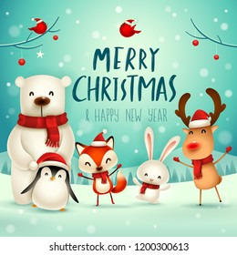 christmas cartoon images stock photos vectors shutterstock https www shutterstock com image vector merry christmas happy new year cute 1200300613