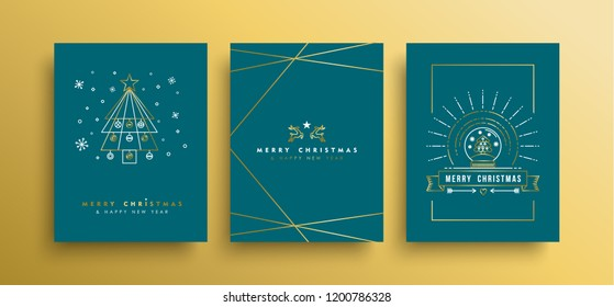 Merry christmas Happy New Year greeting card set in gold outline style with holiday elements and seamless pattern. EPS10 vector.