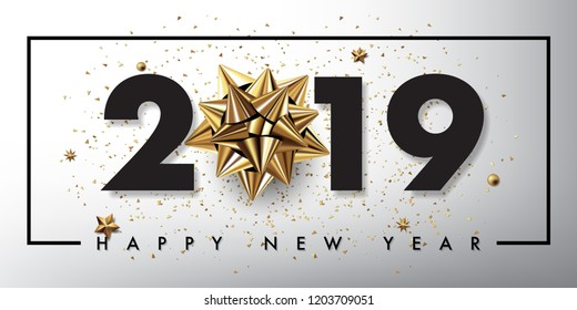 merry christmas and happy new year 2019 vector greeting card and poster design with golden ribbon and star.