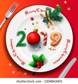 Merry Christmas and Happy New Year 2019, Christmas plate, vector illustration.