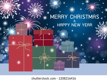Merry Christmas and Happy New Year design of gift box with fireworks on bokeh background