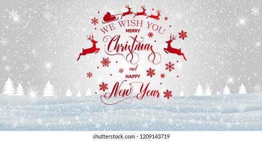 Merry Christmas and happy New Year inscription decorated with red snowflakes and santa claus on the winter background. Vector illustration.