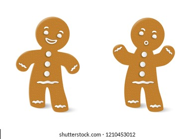 Merry Christmas and Happy New Year. Gingerbread man, christmas cookie character on white background. Vector illustration.