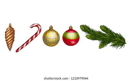 Merry Christmas and Happy New Year vector set. Cone, fir branch, candycane and glass balls Isolated on white background. Winter hollidays collection