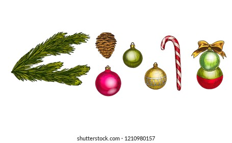 Merry Christmas and Happy New Year vector set. Cone, fir branch, bow, candycane and glass balls Isolated on white background. Winter hollidays collection