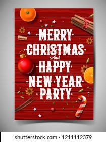 Merry Christmas and Happy New Year  party design template, poster with vintage background with typography and spices, vector illustration.
