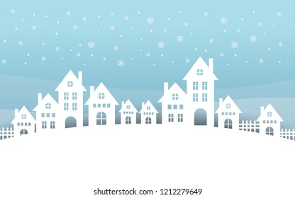 Merry Christmas and Happy New Year. with hill houses. blue background.
