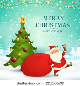 Merry Christmas. Happy new year. Cute Santa Claus with red bag, christmas tree, jingle bell in christmas snow scene. Happy Santa Claus cartoon character in winter landscape with falling snow, garland.