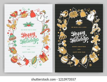 Merry Christmas And Happy New Year Greeting with different elements of winter celebration and space for text. Vector illustration.