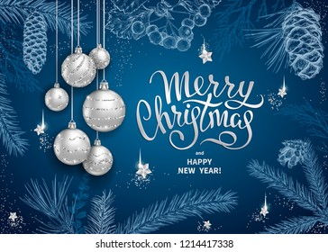 Merry Christmas and Happy New Year card with realistic silver balls, stars, sequins. Sketch of different branches of fir tree, cedar, pine, hawthorn and cones on blue background. Elegant lettering