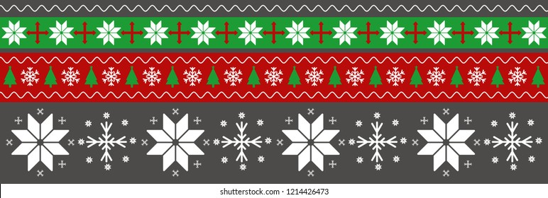 Merry Christmas Happy New Year greeting card frame knitted pattern with snowflakes. Traditional sweater pattern. Red and green stripe background. Texture for walpaper. Vector illustration.