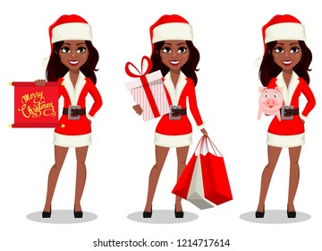Merry Christmas and Happy New Year. African-American woman in Santa Claus costume, set of three poses. Cartoon character holds scroll, holds gift box and holds piggy. Vector illustration