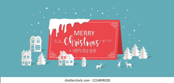 Merry Christmas and Happy New Year. Illustration of winter village, paper art and digital craft style. holiday, christmas, illu