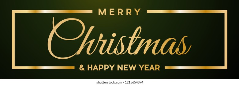 Merry Christmas and Happy New Year. Golden vector text for label or header