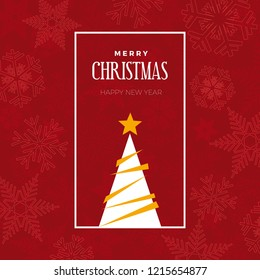 merry christmas and happy new year. greeting, invitation or menu cover. vector illustration with tree