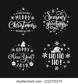 Merry Christmas and Happy New Year lettering template set. Greeting card or invitation. Seasons greetings 2019. Vector vintage illustration.