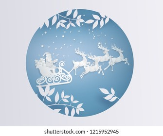 Merry Christmas and Happy New Year. Illustration of Santa Claus on the sky ,paper art and craft style