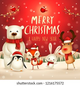 Merry Christmas and Happy New Year! Christmas Cute Animals Character. Happy Christmas Companions. Polar Bear, Fox, Penguin, Bunny and Red Cardinal Bird in snow scene. Winter landscape.