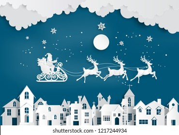Merry Christmas and Happy New Year. Illustration of Santa Claus on the sky coming to City ,paper art and craft style