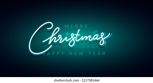 Merry Christmas and Happy New Year neon sign. Xmas card, vector illustration.