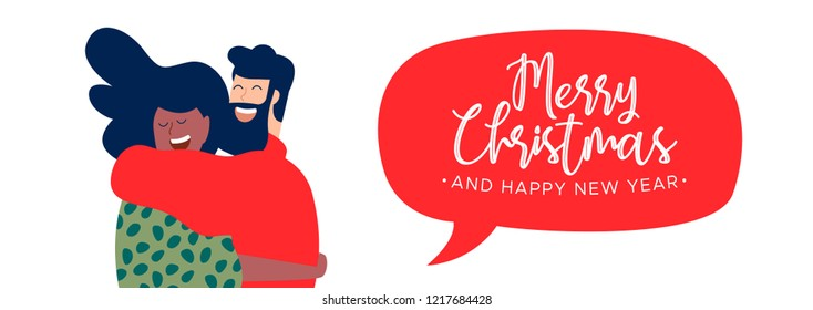 Merry Christmas and Happy New Year web banner illustration, two friends hugging together for holiday party with text quote.