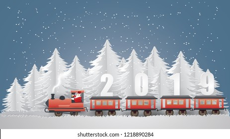 Merry Christmas and Happy new year with Santa Claus driving Vintage Transportation Train runs on the middle of the forest with text  2019 on train in winter season ,paper craft style and illustration