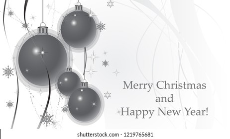 Merry Christmas and Happy New Year background with Christmas decoration, ribbons, snowflakes and stars. Greeting card and Ecard vector banner invitation