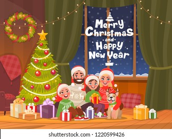 Merry Christmas and Happy New Year. Family at the dressed Christmas tree celebrates the holiday. Dad, mom, son and daughter in a cozy home. Vector illustration in cartoon style.