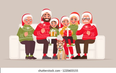 Merry Christmas and Happy New Year. Large family sitting on the sofa. Grandmother, grandfather, father, mother, children and pet in with gifts and Bengal lights celebrate the holiday. Vector illustrat