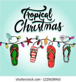 merry christmas and a happy new year in a warm climate design tropical Christmas