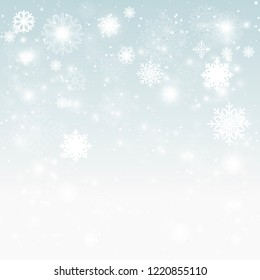 merry christmas happy new year greeting card concept  lot of snowflakes snowfall  on winter blue background postcard template  flat vector illustration