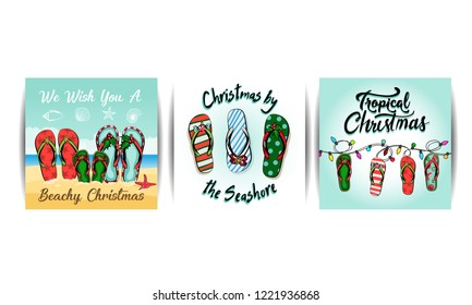 merry christmas and a happy new year in a warm climate design tropical Christmas, Holiday greeting card with Christmas style sandals on the beach