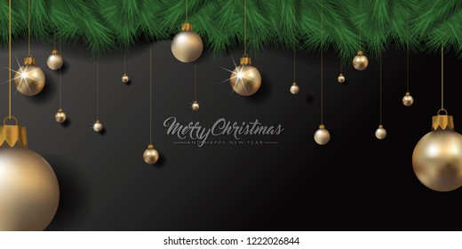 Merry Christmas and Happy New Year design with fir branches and gold baubles. Eps10 vector illustration.