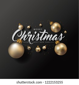 Merry Christmas and Happy New Year poster or greeting card with realistic golden Christmas baubles or ornaments. Eps10 vector illustration.